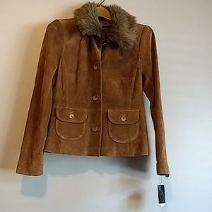 NWT Alfani Suede Jacket with Removable Fur Collar